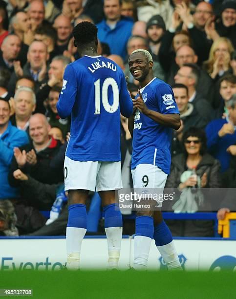 Arouna Kone of Everton celebrates with team mate Romelu Lukaku as he scores their second goal during the Barclays Premier League match between...