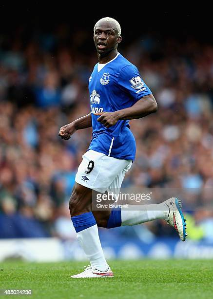 Arouna Kone of Everton in action during the Barclays Premier League match between Everton and Manchester City on August 23 2015 in Liverpool United...
