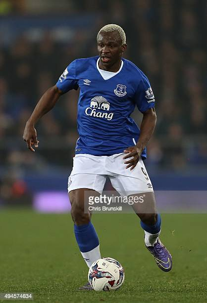 Arouna Kone of Everton in action during the Capital One Cup Fourth Round match between Everton and Norwich City at Goodison Park on October 27 2015...