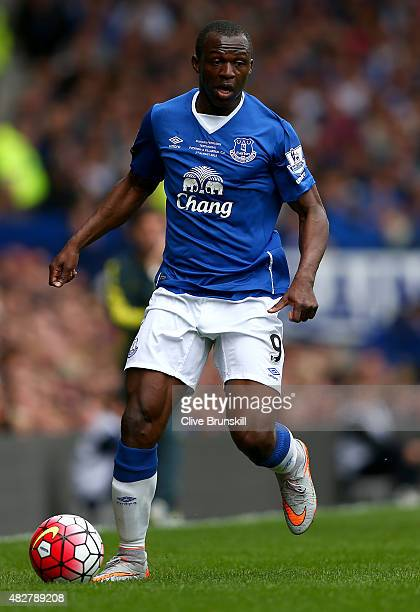 Arouna Kone of Everton in action during the Duncan Ferguson Testimonial match between Everton and Villarreal at Goodison Park on August 2 2015 in...