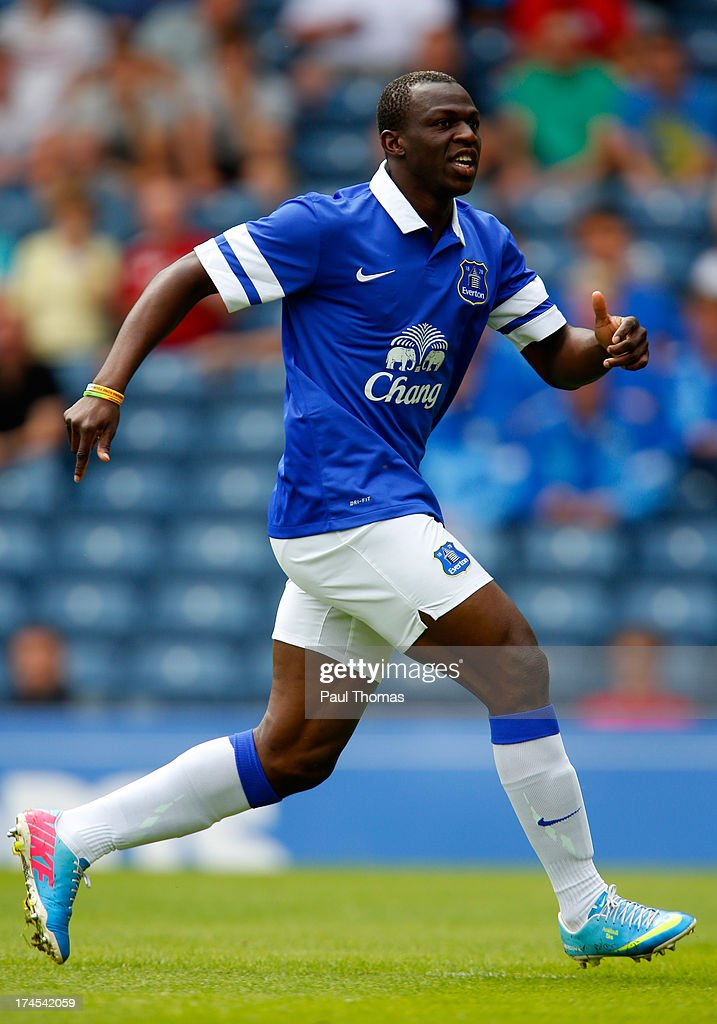 <a gi-track='captionPersonalityLinkClicked' href=/galleries/search?phrase=Arouna+Kone&family=editorial&specificpeople=550782 ng-click='$event.stopPropagation()'>Arouna Kone</a> of Everton in action during the Pre Season Friendly match between Blackburn Rovers and Everton FC at Ewood Park on July 27, 2013 in Blackburn, England