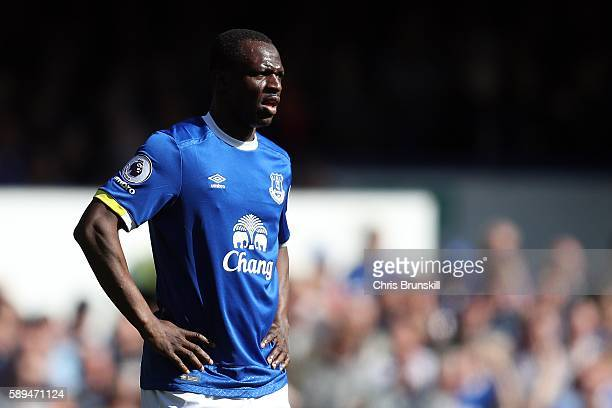 Arouna Kone of Everton looks on during the Premier League match between Everton and Tottenham Hotspur at Goodison Park on August 13 2016 in Liverpool...