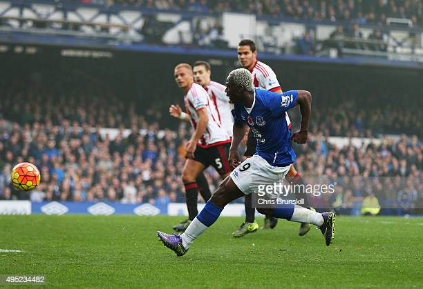 Arouna Kone of Everton scores their fifth goal during the Barclays Premier League match between Everton and Sunderland at Goodison Park on November 1...