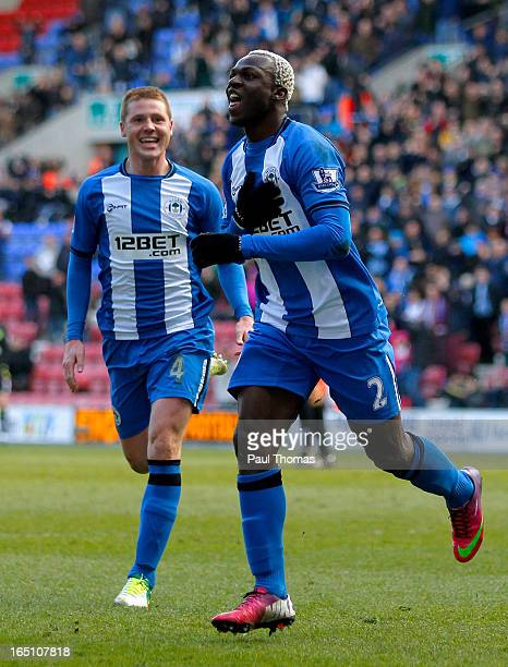 Arouna Kone of Wigan celebrates his goal during the Premier League match between Wigan Athletic and Norwich City at the DW Stadium on March 30 2013...