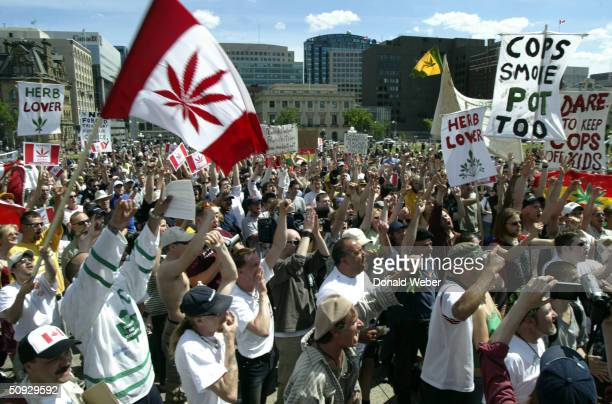 Around 1000 protesters showed up for the Fill the Hill rally in support of legalizing marijuana on June 5 2004 on Parliament Hill in Ottawa Canada...