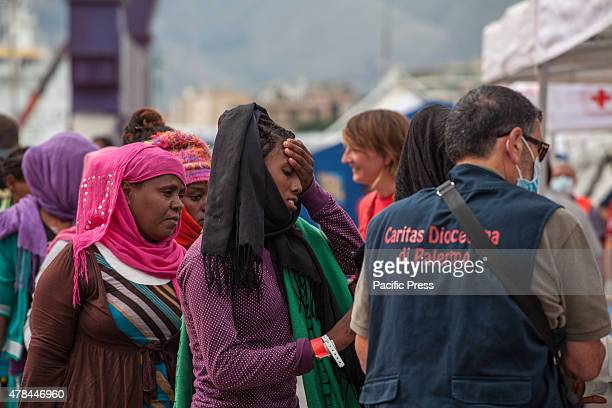 Around 770 African migrants arrived in Palermo aboard on a Norwegian military ship after a rescue mission in the Strait of Sicily The migrants mostly...