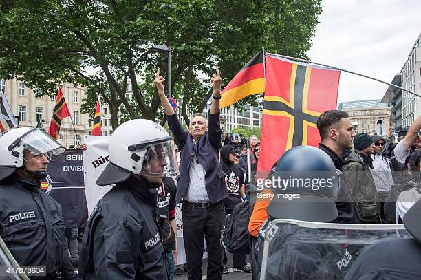 Around 80 Rightwing supporters participate in a demonstration organized by the neoNazi 'Widerstand OstWest' group on June 20 2015 in Frankfurt...