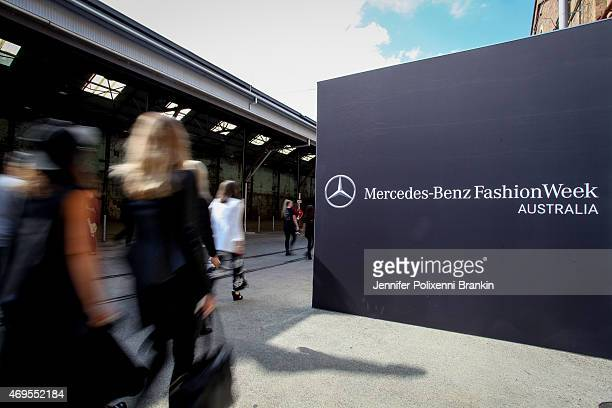 Around MercedesBenz Fashion Week Australia 2015 at Carriageworks on April 13 2015 in Sydney Australia