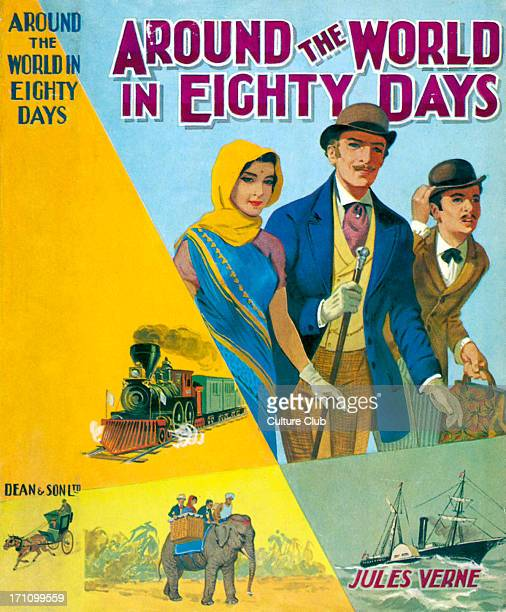 Around the World in Eighty Days by Jules Verne Dust jacket / cover Published London Dean Adventure travel story