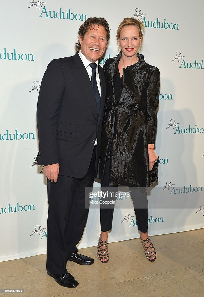 Arpad A. Busson (L) and actress <a gi-track='captionPersonalityLinkClicked' href=/galleries/search?phrase=Uma+Thurman&family=editorial&specificpeople=171973 ng-click='$event.stopPropagation()'>Uma Thurman</a> attend the 2013 National Audubon Society Gala Dinner on January 17, 2013 in New York, United States.