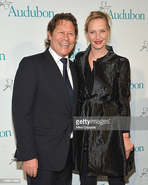 Arpad A Busson and actress Uma Thurman attend the 2013 National Audubon Society Gala Dinner on January 17 2013 in New York United States