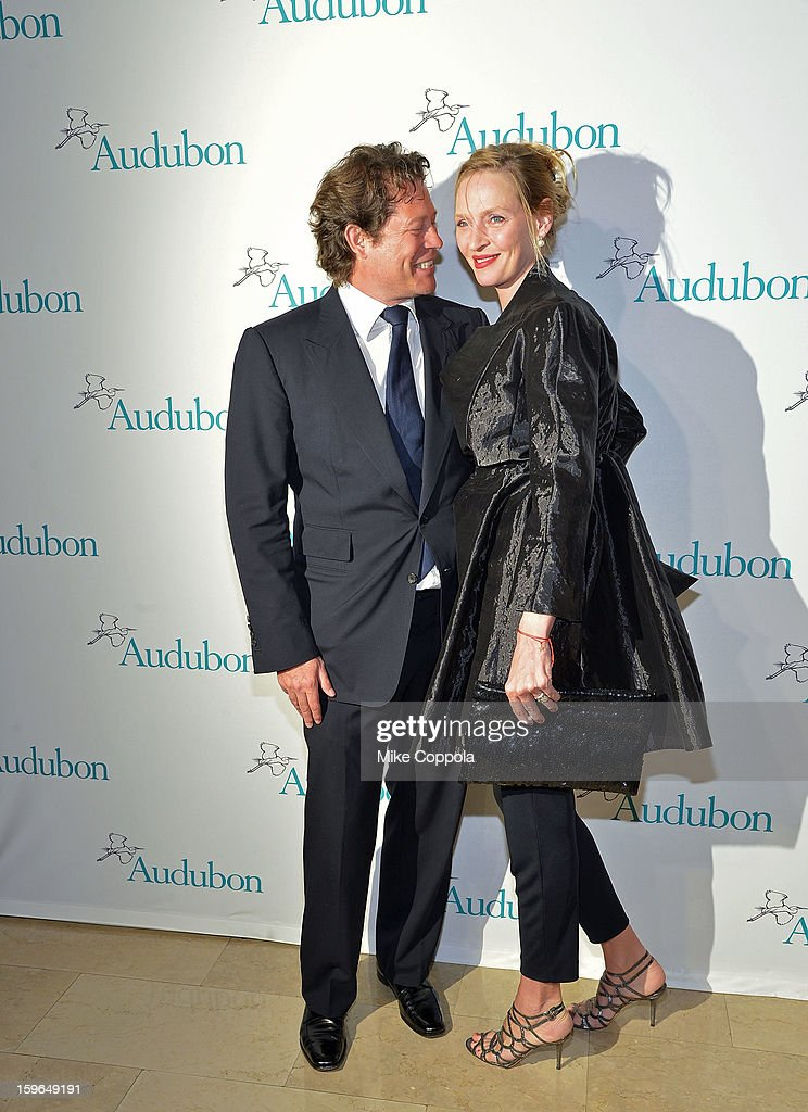 Arpad A. Busson (L) and actress Uma Thurman attend the 2013 National Audubon Society Gala Dinner on January 17, 2013 in New York, United States.