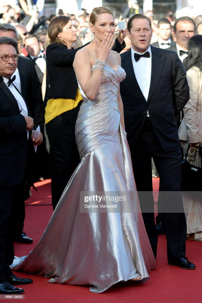 Arpad Busson and Uma Thurman attend the Premiere of 'Zulu' and the Closing Ceremony of The 66th Annual Cannes Film Festival at Palais des Festivals on May 26, 2013 in Cannes, France.