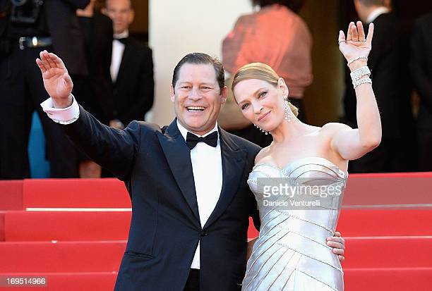 Arpad Busson and Uma Thurman attend the Premiere of 'Zulu' and the Closing Ceremony of The 66th Annual Cannes Film Festival at Palais des Festivals...