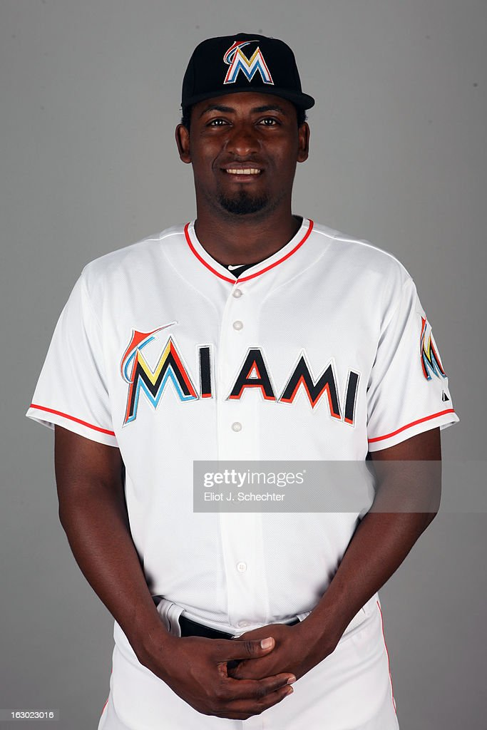 Arquimedes Caminero #49 of the Miami Marlins poses during Photo Day on Friday, February 22, 2013 at Roger Dean Stadium in Jupiter, Florida.