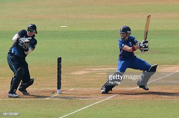 Arran Brindle of England bats during the 3rd/4th Place PlayOff game between England and New Zealand held at the CCI ground on February 15 2013 in...