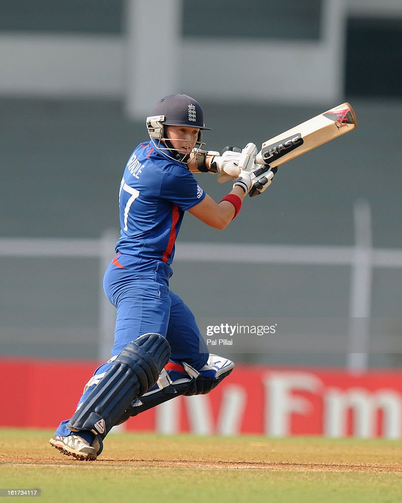 Arran Brindle of England bats during the 3rd/4th Place Play-Off game between England and New Zealand held at the CCI (Cricket Club of India) ground on February 15, 2013 in Mumbai, India.