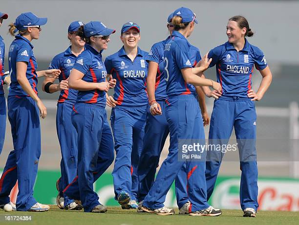 Arran Brindle of England celebrates the wicket of Sophie Devine of New Zealand during the 3rd/4th Place PlayOff game between England and New Zealand...