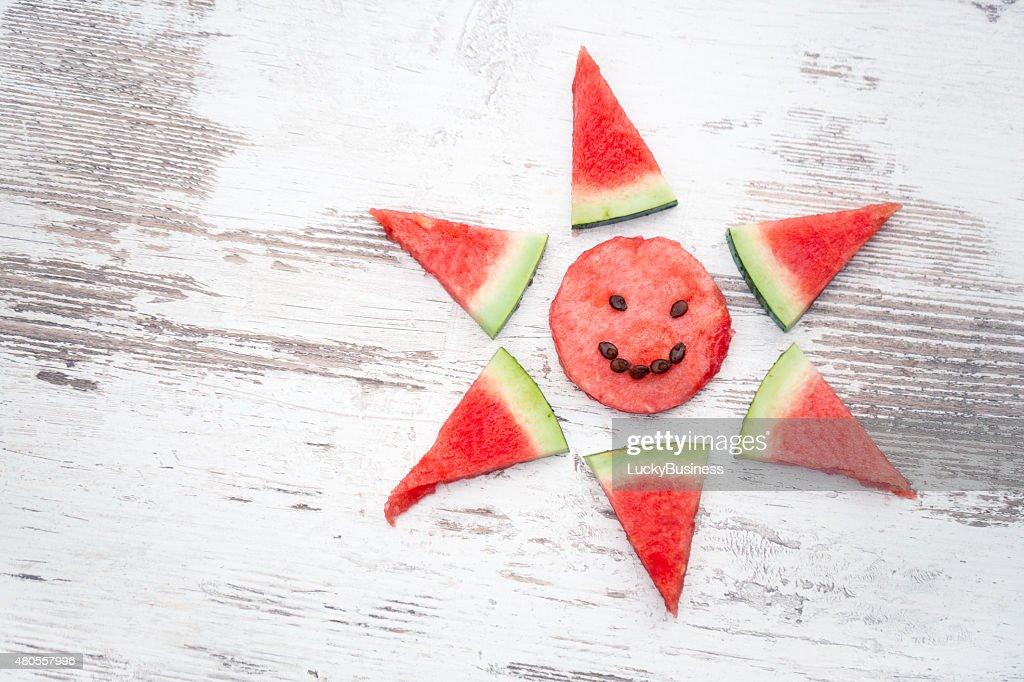 arranged slices of watermelon : Stock Photo