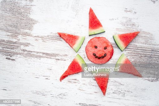 arranged slices of watermelon : Stock Photo