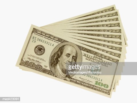 Arrangement of American bank notes : Stock Photo