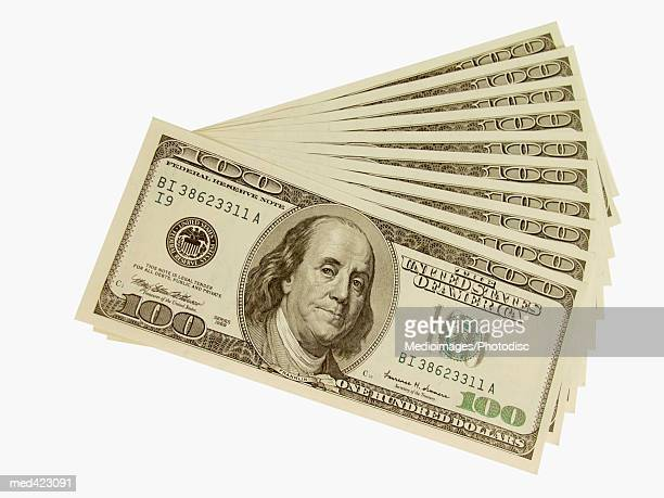 Arrangement of American bank notes