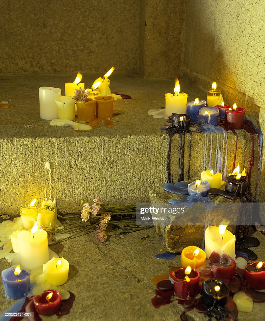 Arrangement of candles on stairs : Stock Photo