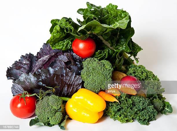 arrangement of mixed raw vegetables