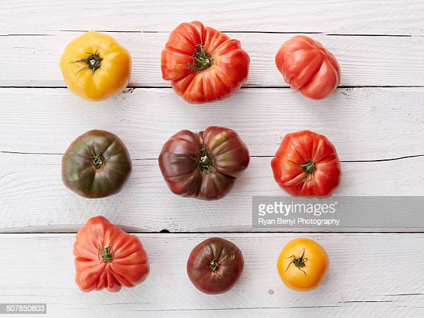 Arrangement of nine heirloom tomatoes