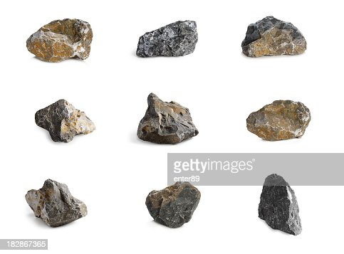 Arrangement of nine rocks with different colors and textures