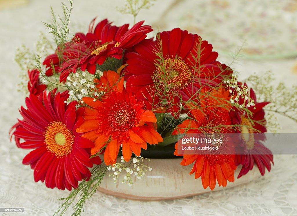 Arrangement of orange gerbera daisies : Stock Photo