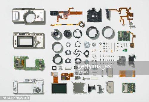 Arrangement of parts that constitute digital camera : Stock Photo