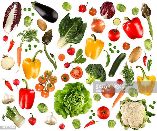Arrangement of several vegetables against white background