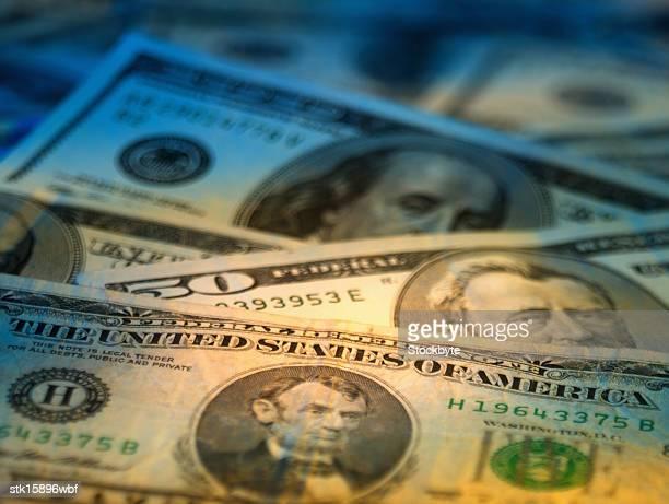 array of assorted dollar bills