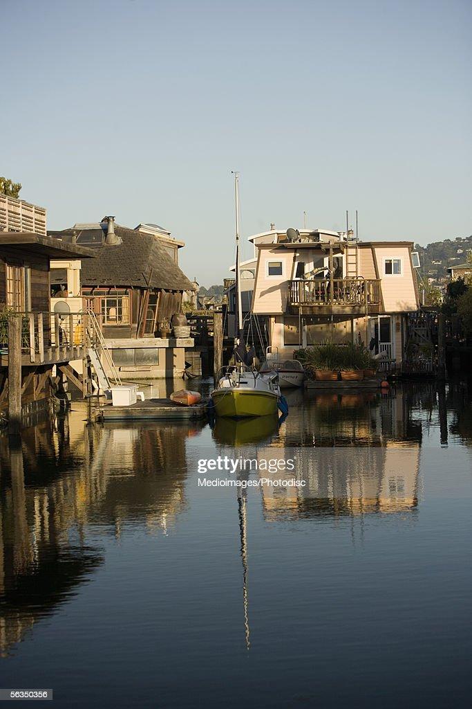 Array of boathouses, Sausalito, San Francisco, California, USA