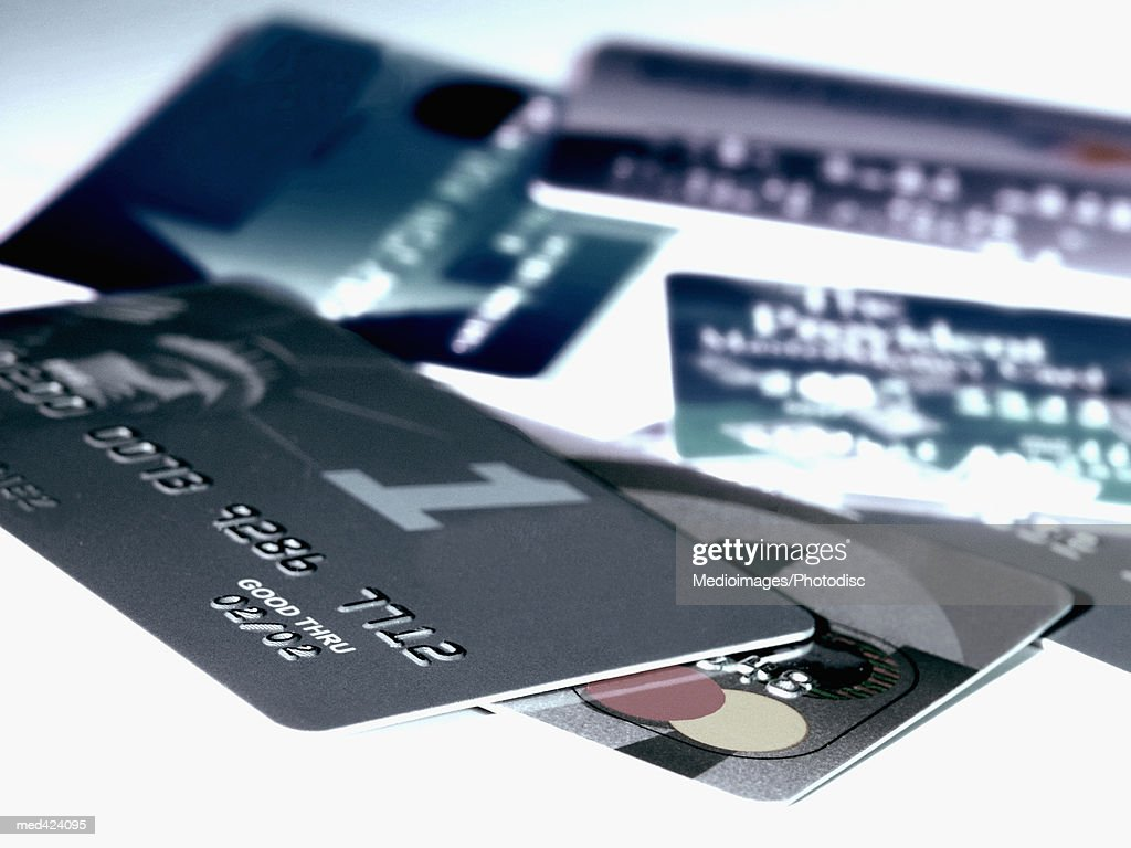 Array of credit cards : Stock Photo