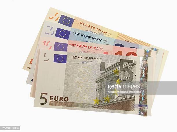 Array of Euro bank notes