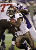 Arrelious Benn of the Tampa Bay Buccaneers carries the ball during the game against the Minnesota Vikings on October 25 2012 at Mall of America Field...