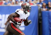 Arrelious Benn of the Tampa Bay Buccaneers in action against the New York Giants at MetLife Stadium on September 16 2012 in East Rutherford New...