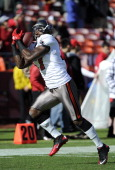 Arrellous Benn of the Tampa Bay Buccaneers catches a pass during pregame warmup before an NFL football game against the San Francisco 49ers at...