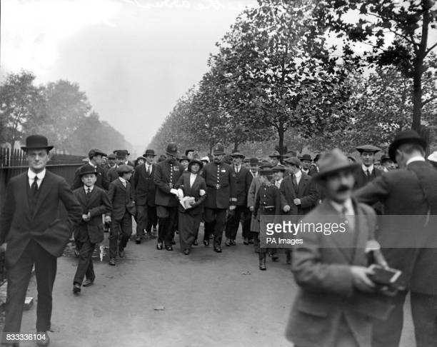 Arrest of a Suffragette who attempted to petition the King on Prince Arthur of Connaught's wedding day