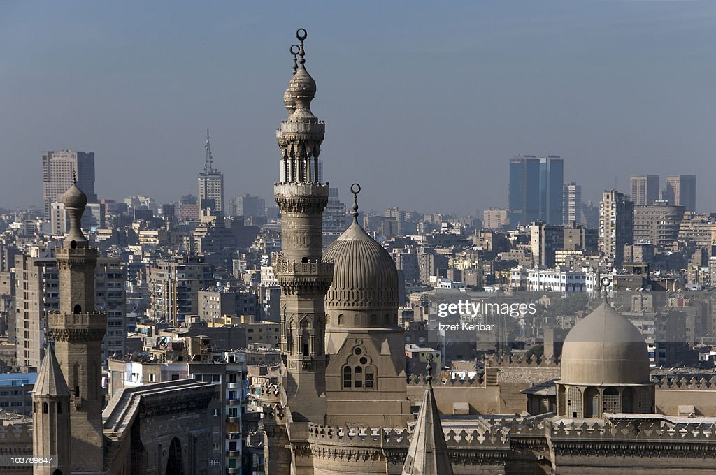 Ar-Rifai Mosque and Mosque of Sultan Hassan (Midan Salah ad-Din) with city buildings in background. : Stock Photo