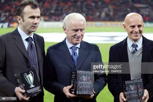 Arrigo Sacchi Dejan Savicevic and Giovanni Trapattoni recieve thier awards from UEFA