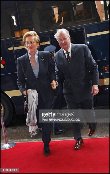 Arrival for Lunch concert 'Concertgebouw' in Amsterdam In Amsterdam Netherlands On February 01 2002Queen Paola with King Albert of Belgium