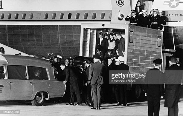Arrival in Washington DC of the mortal remains of President John Fitzgerald Kennedy from Dallas followed by Jacqueline and Robert Kennedy on November...