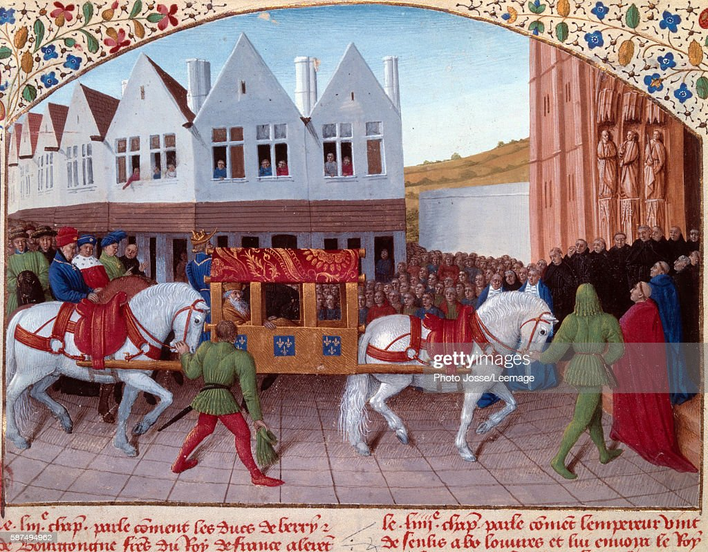 Arrival of Charles IV Holy Roman Emperor at the Basilica SaintDenis in 1378 Miniature from 'Les grandes Chroniques de France' Illuminated by Jean...