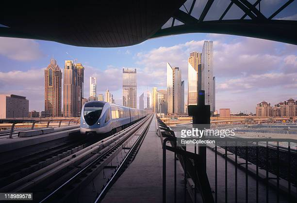 Arrival of metro at a modern business district