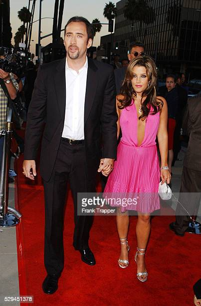 Arrival of Nicolas Cage and Lisa Marie Presley at the premiere of the film by John Madden in Los Angeles