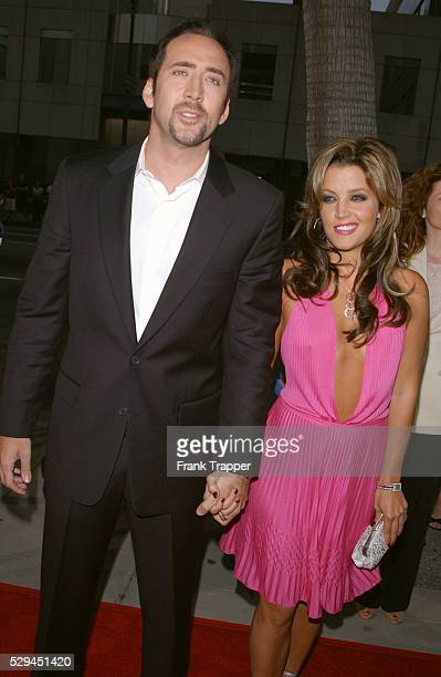 Arrival of Nicolas Cage and Lisa Marie Presley to the premiere of the film by John Madden in Los Angeles