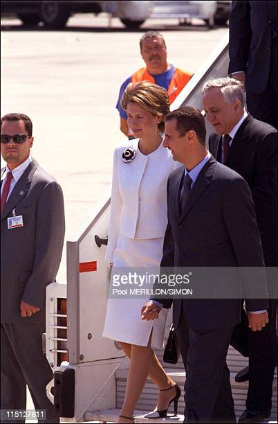 Arrival of Syrian President Bachar AlAssad in France in Orly France on June 24 2001 Asma AlAssad and Bachar AlAssad
